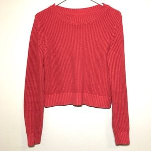 Banana republic red cotton crop crew neck sweater